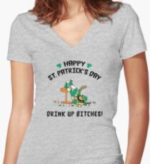 St. Patrick's Day Drink Up Bitches Women's Fitted V-Neck T-Shirt