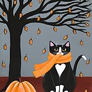 Autumn Tuxedo Cat by Ryan Conners