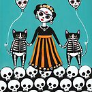 Day of the Dead Skellie Cats by Ryan Conners