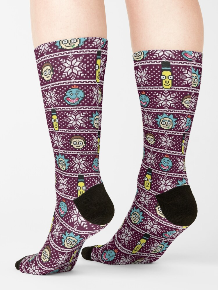 Alternate view of Rick and Morty christmas sweater Socks