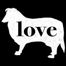 Collie Dog Love - A Minimalist Distressed Vintage Style Design for Dog Lovers by traciwithani