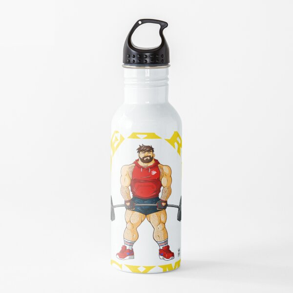 ADAM LIKES BEAR'S GYM - YELLOW WRITING Water Bottle