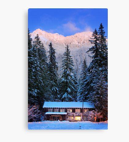 Mount Rainier winter evening Canvas Print