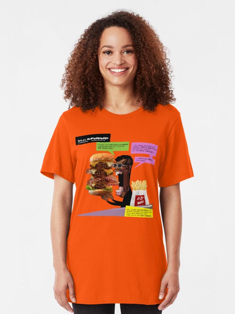 Alternate view of Clint Eatswould Birth of a Superhero Cheeseburger Man Slim Fit T-Shirt