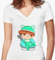 baby frog Women's Fitted V-Neck T-Shirt