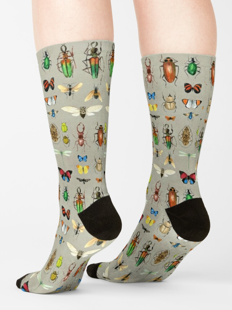 Alternate view of The Usual Suspects - Insects on grey - watercolour bugs pattern by Cecca Designs Socks
