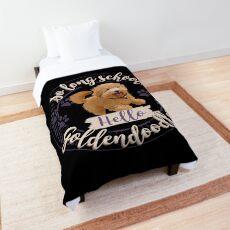 So Long School. Hello, Goldendoodles! Comforter