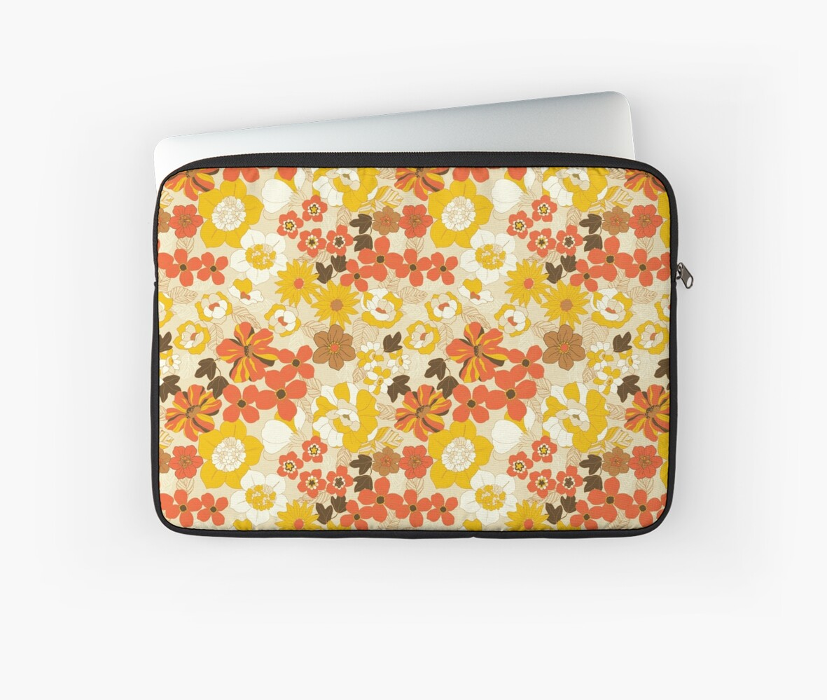 70s Wallpaper Floral Laptop Sleeve By Tonionio Redbubble
