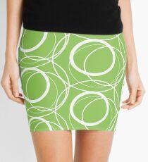 Swirly Whirly Random Circles Green Mini Skirt