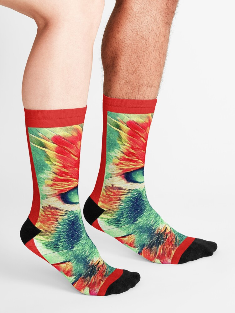 Alternate view of Artificial neural style wild cat Socks