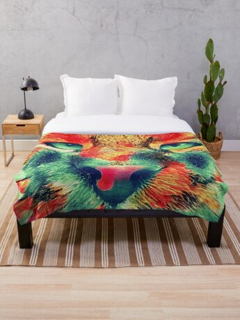 Artificial neural style wild cat Throw Blanket
