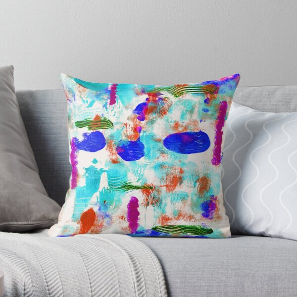 Bluesy Abstract Throw Pillow