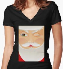 Santa Claus Fitted V-Neck T-Shirt