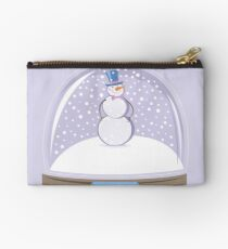 Snowman in Globe Ball Zipper Pouch