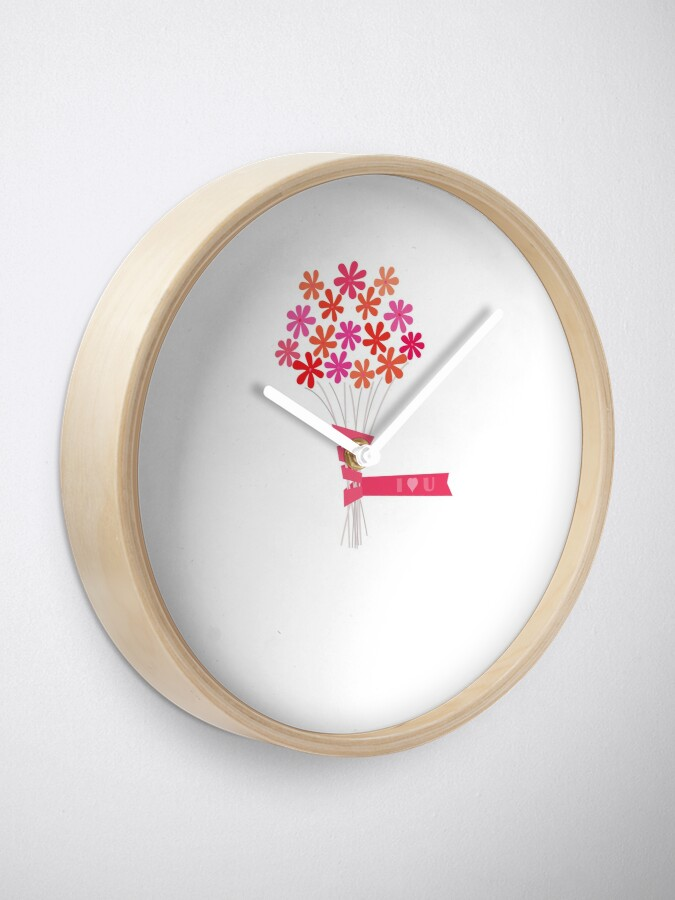 Alternate view of Flowers for You! Clock