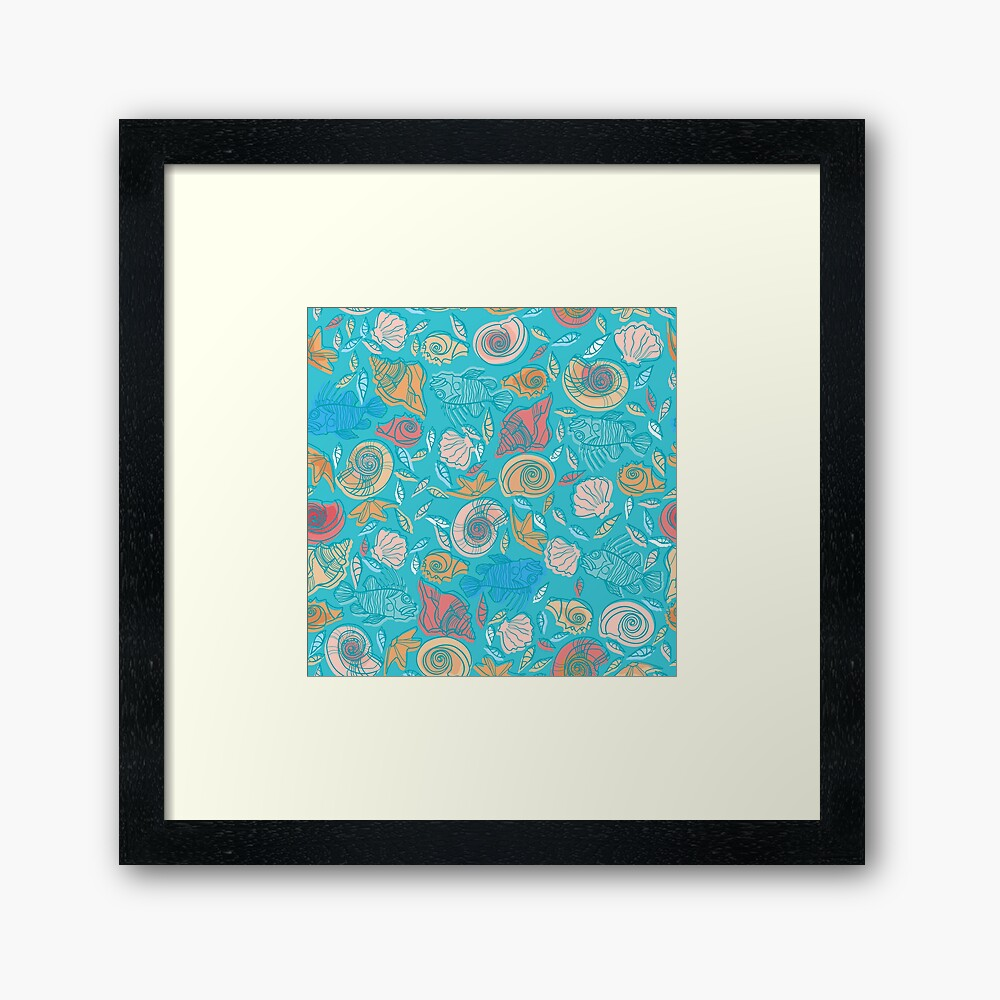 Shells and Fish Pattern Framed Art Print