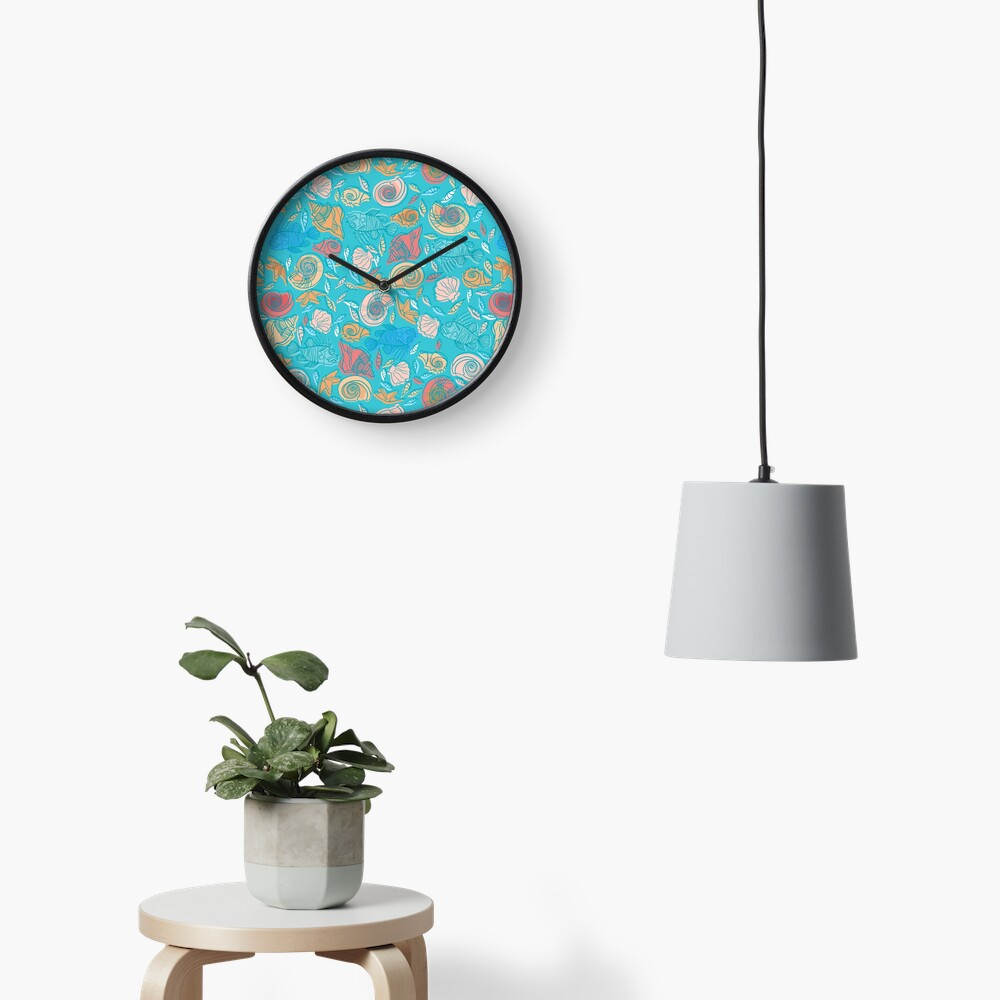 Shells and Fish Pattern Clock