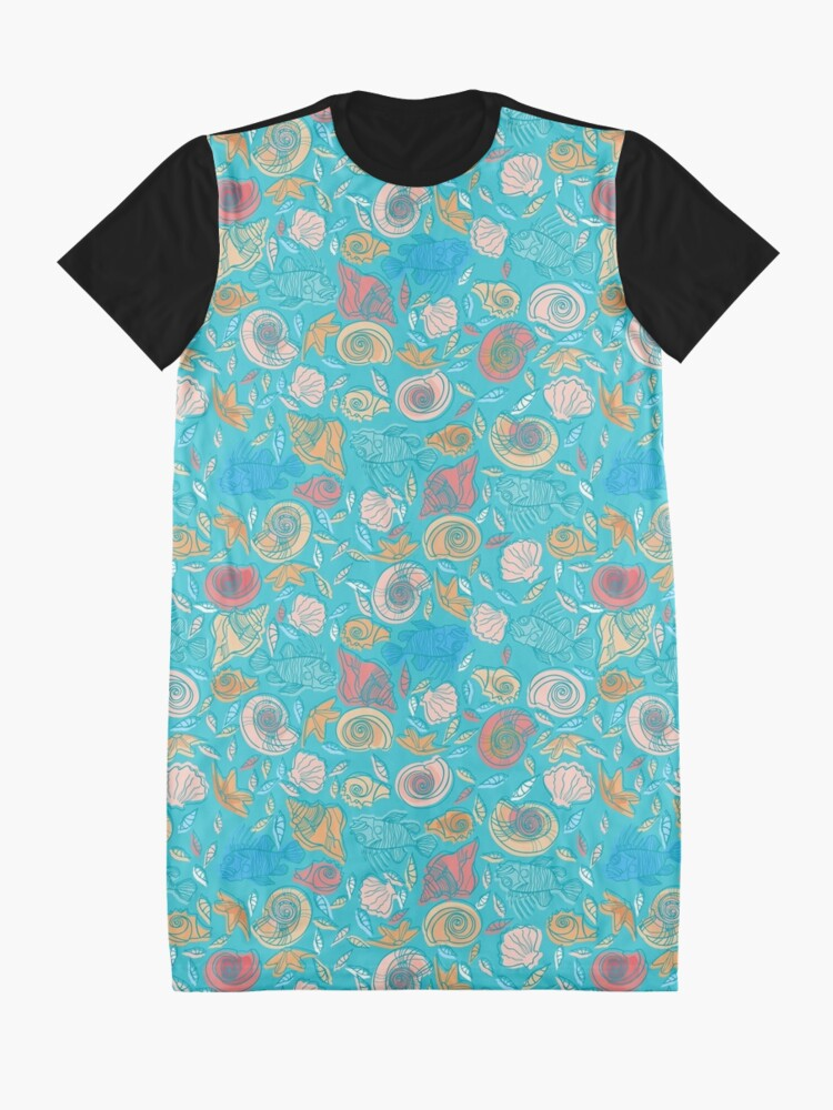 Alternate view of Shells and Fish Pattern Graphic T-Shirt Dress