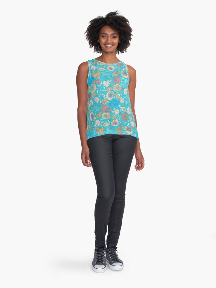 Alternate view of Shells and Fish Pattern Sleeveless Top