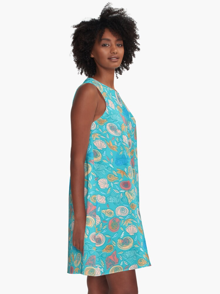 Alternate view of Shells and Fish Pattern A-Line Dress