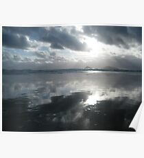 Silver Reflections on the Beach Poster