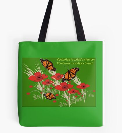 Poppies and butterflies (2891 Views) Tote Bag