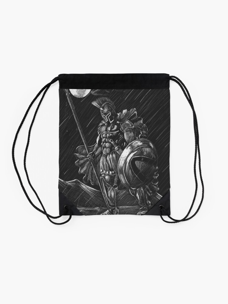 Alternate view of Lost comrades under the moon Drawstring Bag