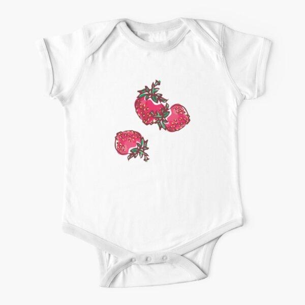 Decorative Strawberry Short Sleeve Baby One-Piece