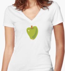 Green Apple Fitted V-Neck T-Shirt