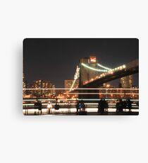 Brooklyn Bridge and Lower Manhattan at Night Canvas Print