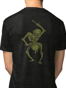 A Zombie Undead Skeleton Marching and Beating A Drum Tri-blend T-Shirt