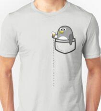 f028e20e Pocket penguin enjoying ice cream Slim Fit T-Shirt