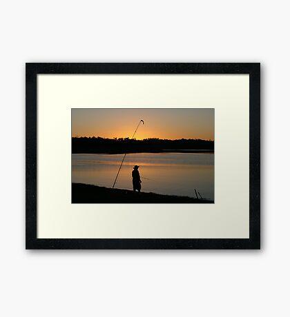 Fishing at Sundown, Lake Boondooma, QLD Framed Print