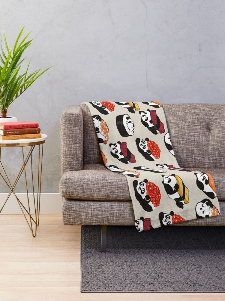 Alternate view of SUSHI PANDA Throw Blanket