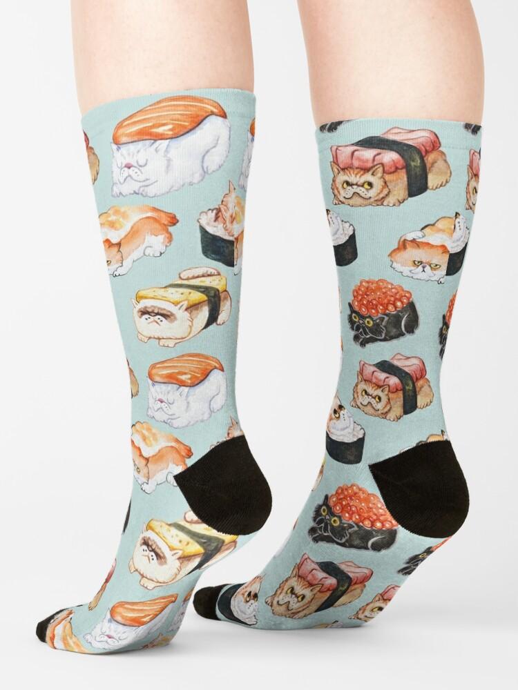 Alternate view of Sushi Persian Cat Watercolor Socks