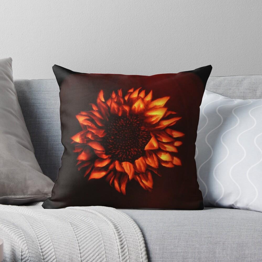 Pumpkin Sunflower Throw Pillow