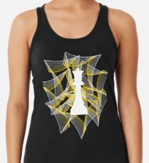 White Chess Queen on Powerful Charming Ribbon Racerback Tank Top