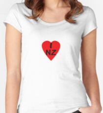 I Love New Zealand - Country Code NZ T-Shirt & Sticker Women's Fitted Scoop T-Shirt