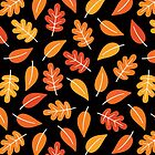 Retro Autumn Leaves on Black by daisy-beatrice