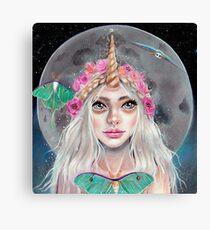 Nymeria and the Luna Moths, Unicorn Girl Canvas Print