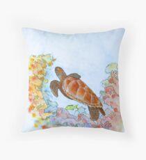 Hervey Bay Turtle Throw Pillow