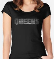 Queens New York Typography Text Women's Fitted Scoop T-Shirt