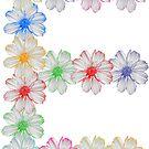Buchstabe E aus Blumen, floral, Kosmee Blüten von rhnaturestyles