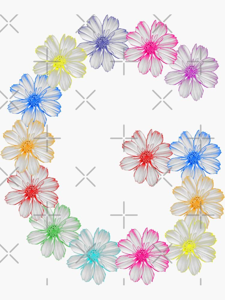 Buchstabe G aus Blumen, floral, Kosmee Blüten von rhnaturestyles