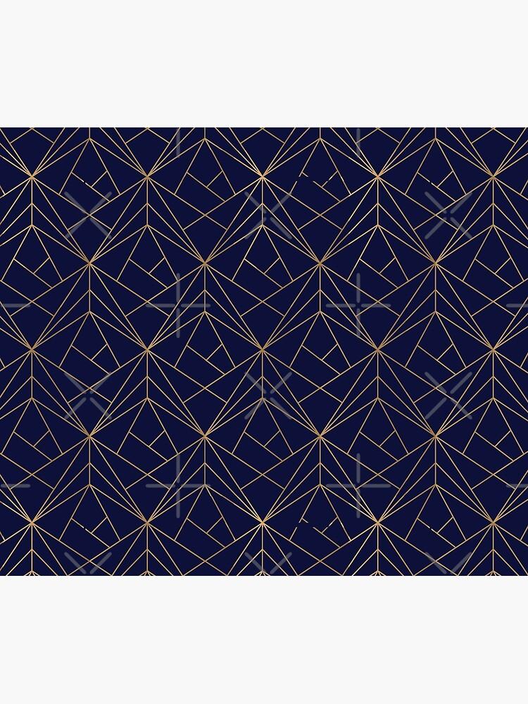 Navy Gold Geometric Pattern  by koovox