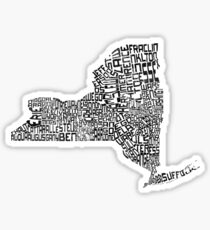 New York State Typographic Map Sticker