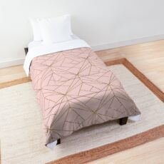 Pink and Gold Geometric Pattern  Comforter