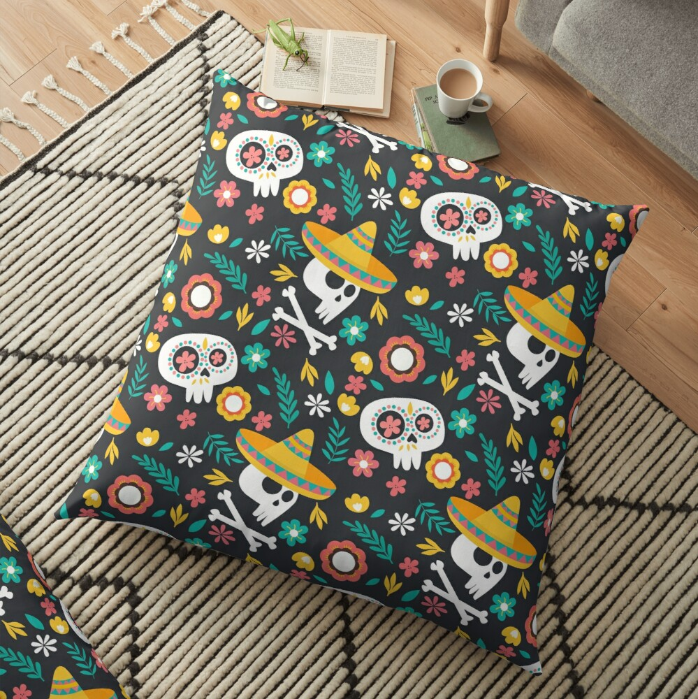 Halloween :  Skulls of the Day of the Dead pattern Floor Pillow