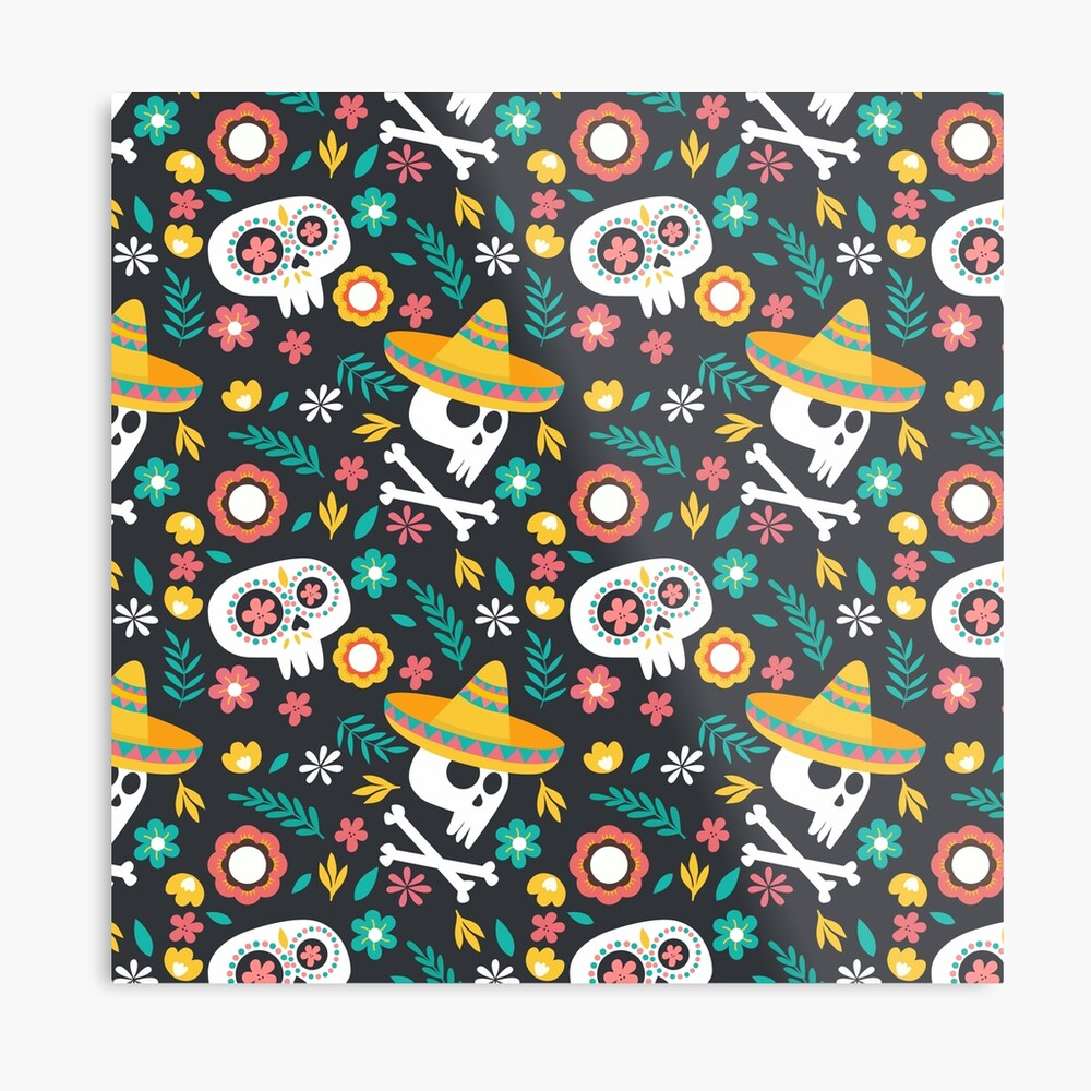 Halloween :  Skulls of the Day of the Dead pattern Metal Print