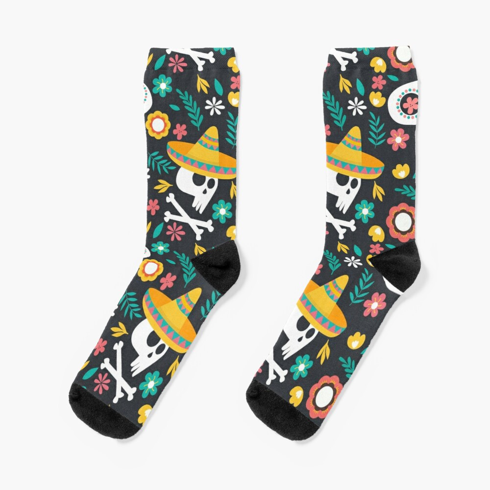 Halloween :  Skulls of the Day of the Dead pattern Socks
